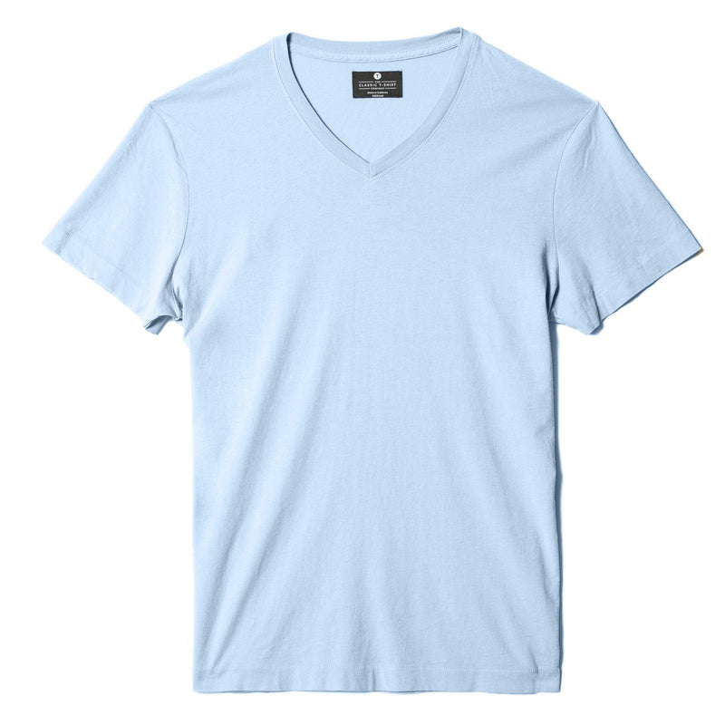 sky-blue organic cotton V-Neck t-shirt - flat view