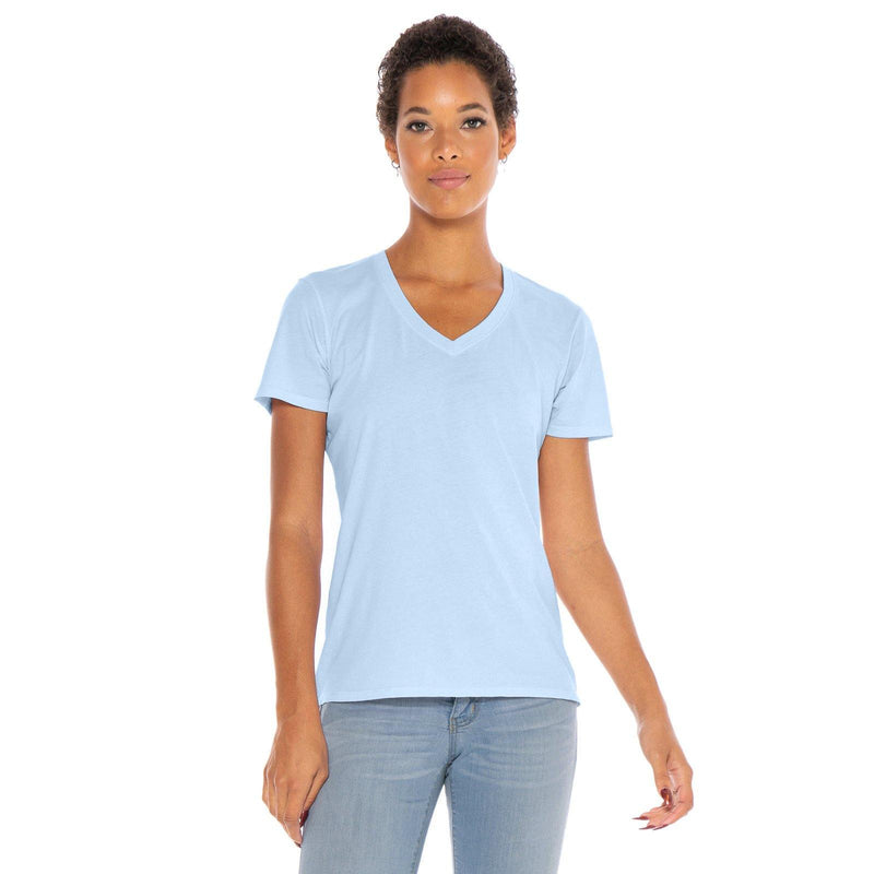 sky-blue organic cotton V-Neck t-shirt - front view