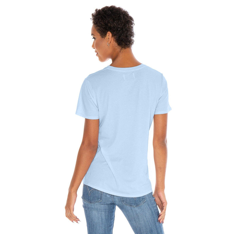 sky-blue organic cotton V-Neck t-shirt - back view