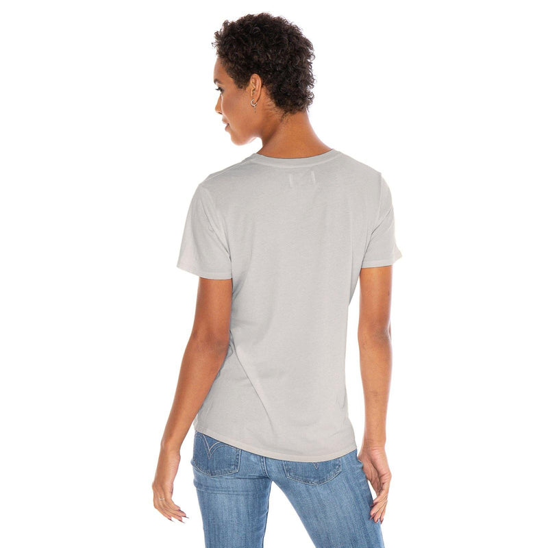 light-grey organic cotton V-Neck t-shirt - back view