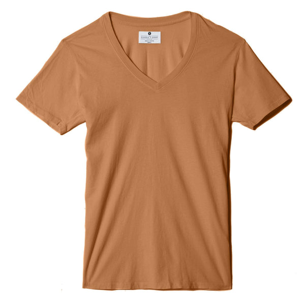 copper organic cotton V-Neck t-shirt - flat view new-color