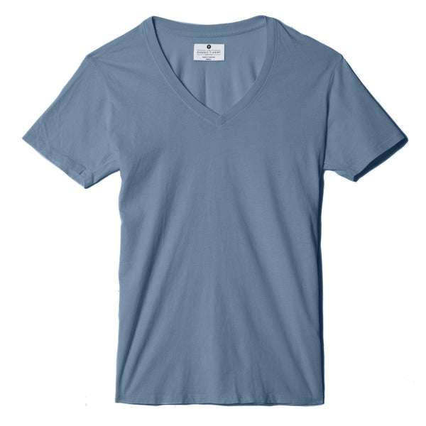 dusk-blue organic cotton V-Neck t-shirt - flat view