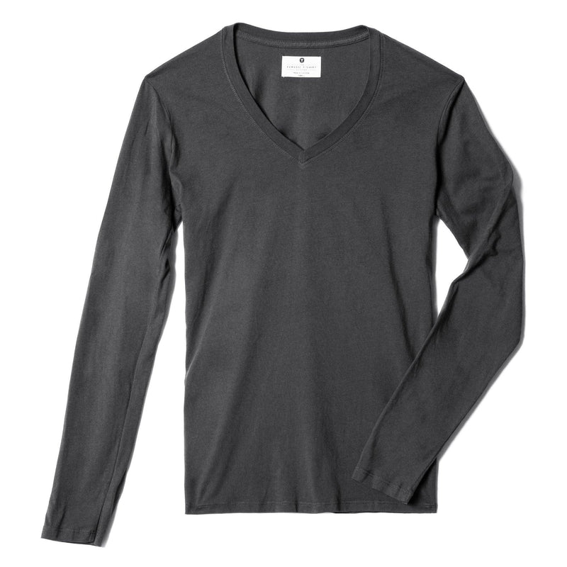 dark-grey organic cotton Long Sleeve V-Neck t-shirt - flats view