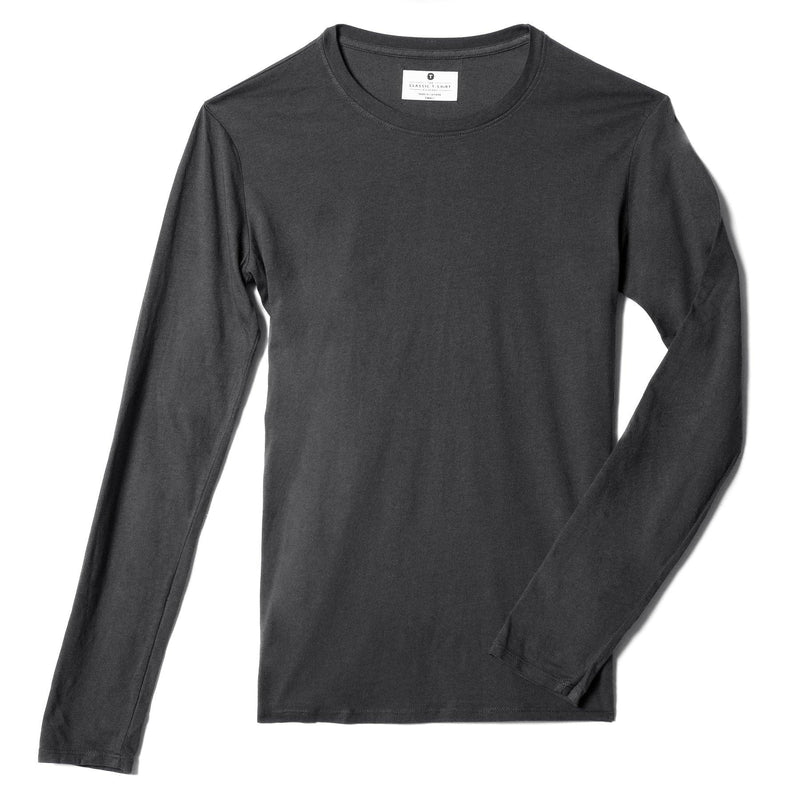 dark-grey organic cotton Long Sleeve crewneck t-shirt - front