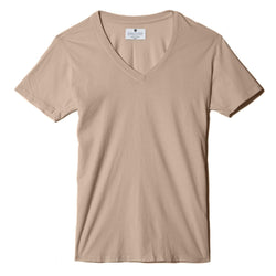 sand organic cotton V-Neck t-shirt - flat view