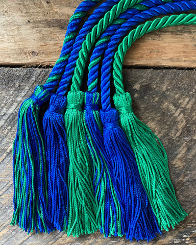 royal blue and kelly green honor cords from senior class graduation products