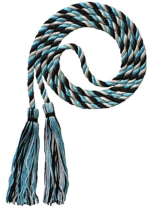 Black-White-Light Blue 3 color honor cord from Senior Class