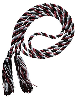 Black-White-Maroon 3 color graduation honor cord from Senior Class Graduation Products