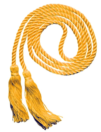 Bright Gold solid color graduation honor cord from Senior Class Graduation Products