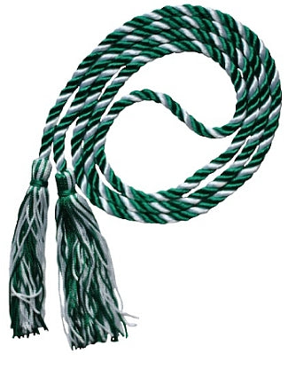 Dark Green and White 2-color graduation honor cord from Senior Class Graduation Products