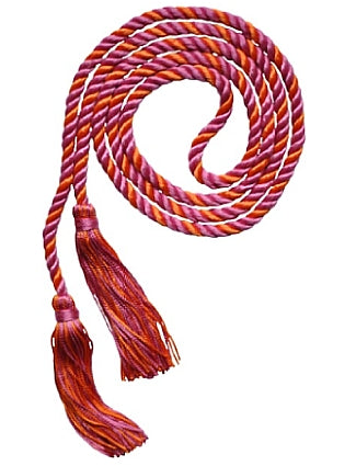 Rose and Orange 2-color graduation cord from Senior Class Graduation Products