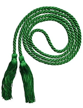 Kelly green graduation honor cord. Value prices. Made in United States.