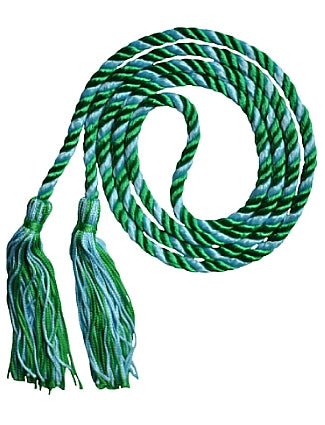Kelly Green and Light Blue 2 color graduation honor cord from Senior Class Graduation Products