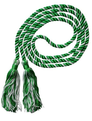 Kelly Green and White 2-color graduation honor cord from Senior Class Graduation Products