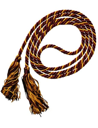 Maroon-Bright Gold graduation honor cord from Senior Class Graduation Products