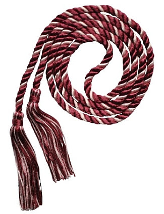 Maroon-Pink 2-color graduation honor cord from Senior Class Graduation Products