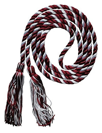 Maroon and White 2-color graduation honor cord from Senior Class Graduation Products