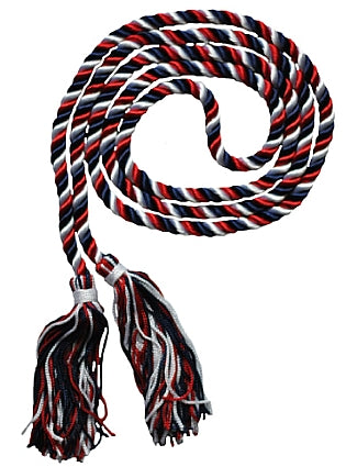 Navy blue, white and red 3 color graduation honor cord from Senior Class Graduation Products