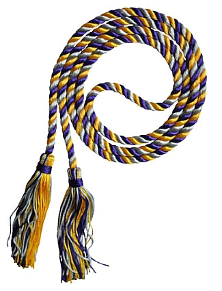 Purple-Silver-Bright Gold graduation honor cord from Senior Class Graduation Products