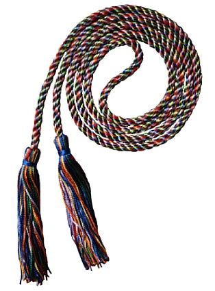 Rainbow mult-color graduation honor cord from Senior Class Graduation Products