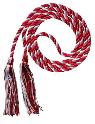 Red and White 2-color graduation honor cord from Senior Class Graduation Products