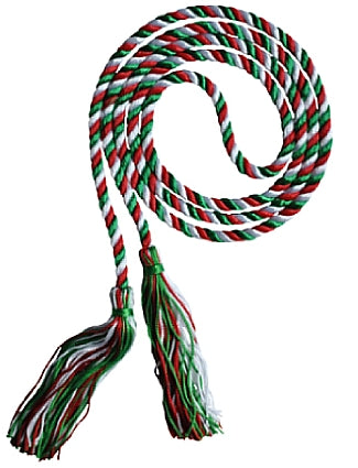 Red, white and kelly 3 color graduation honor cord from Senior Class Graduation Products