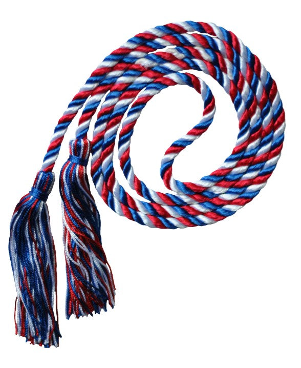 Red-White-Royal 3 color graduation honor cord from Senior Class Graduation Products
