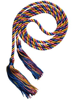 Royal Blue-Bright Gold-Fuchsia graduation honor cord from Senior Class Graduation Products