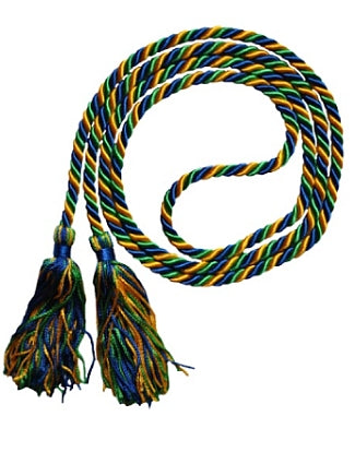 Royal Blue-Bright Gold-Kelly Green graduation honor cords from Senior Class Graduation Products