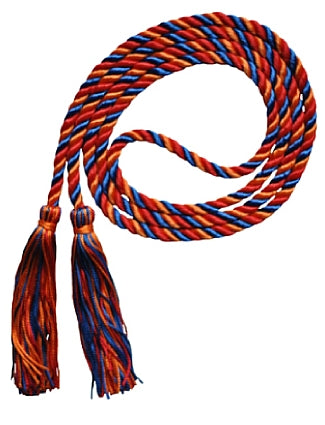 Royal Blue-Orange-Red 3 color graduation honor cord from Senior Class Graduation Products