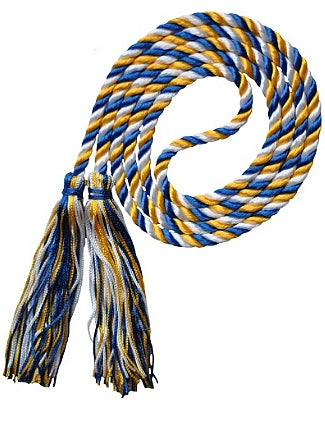 Royal Blue-White-Bright Gold graduation honor cord from Senior Class Graduation Products