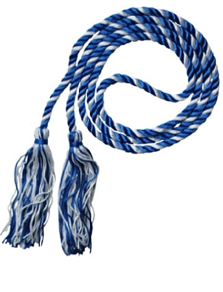 Royal Blue-White graduation honor cords from Senior Class Graduation Products