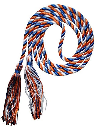 Royal Blue, Orange and White 3 color graduation honor cord from Senior Class Graduation Products