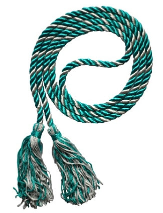 Teal-Silver/Grey graduation honor cords from Senior Class Graduation Products