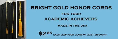 bright gold honor cords from senior class graduation products