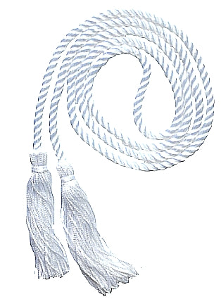White solid color graduation honor cord from Senior Class Graduation Products