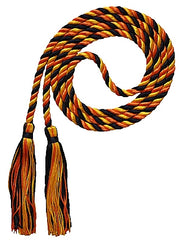 Black, gold and orange 3 color graduation honor cord