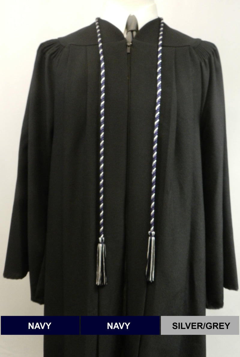 Navy Blue and Silve Grey 2-color honor cords from Senior Class Graduation Products - Made in United States