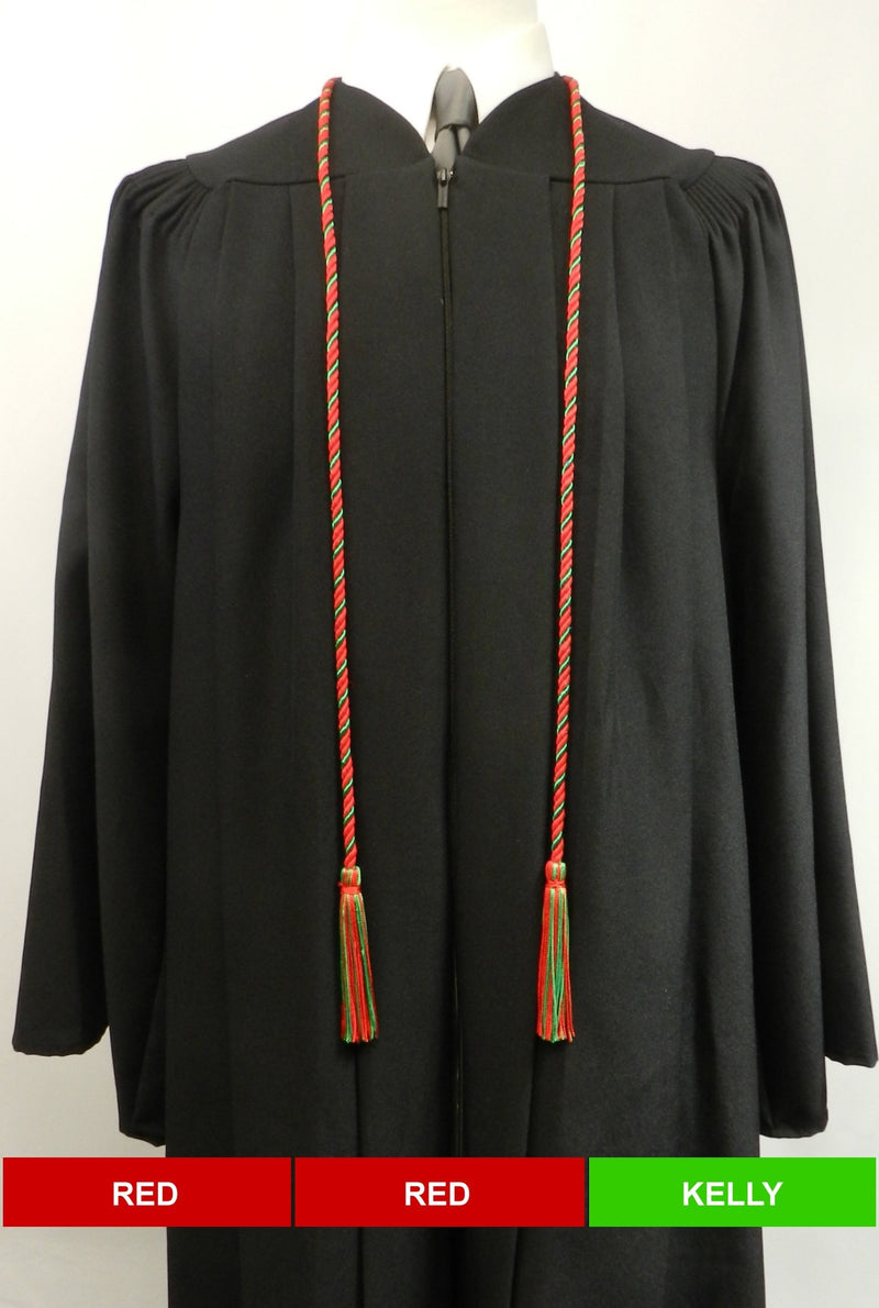 Red and Kelly Green 2 color honor cord from Senior Class Graduation Products - Made in United States
