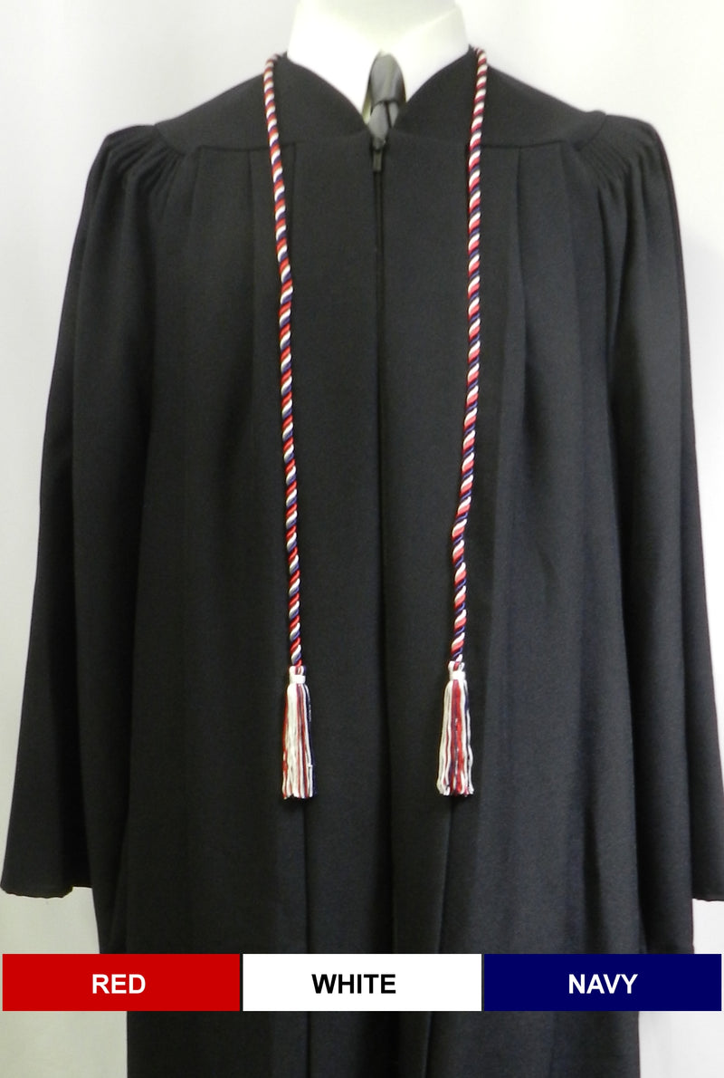 Red White Navy 3 color graduation honor cord from Senior Class