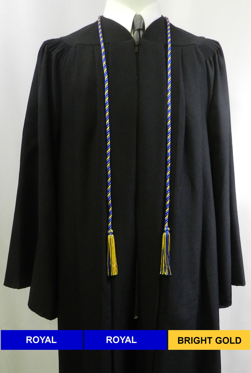 Royal blue and bright gold 2 color graduation honor cord from Senior Class Graduation Products. Made in United States.