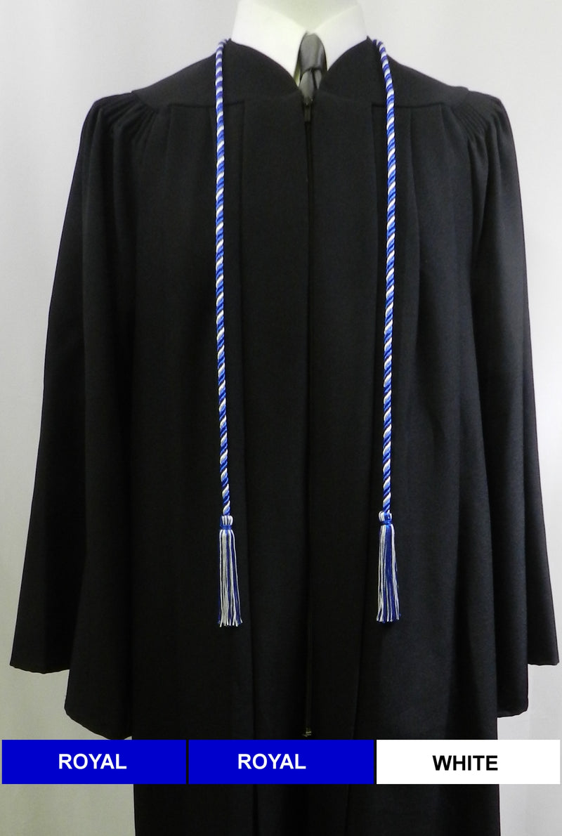 Royal Blue and White 2 color graduation honor cord from Senior Class Graduation Products. Made in United States.