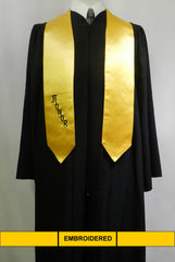 Embroidered gold satin honor stole from Senior Class