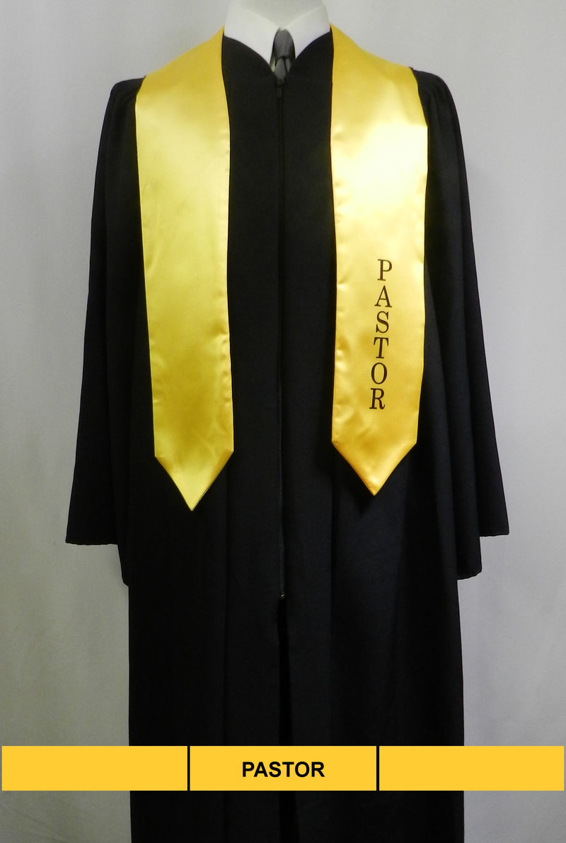 Pastor stole in gold satin from Senior Class Graduation Products
