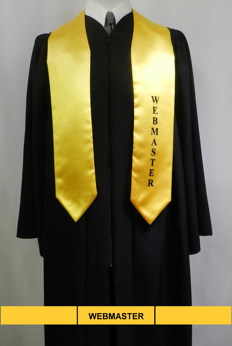 Webmaster stole in gold satin from Senior Class Graduation Products
