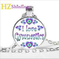 2017 New Keep Calm and Love Gymnastics Necklace Quote Pendants Jewelry Round Glass Dome Pendant Necklaces Wholesale - ACRO-GYM Shop