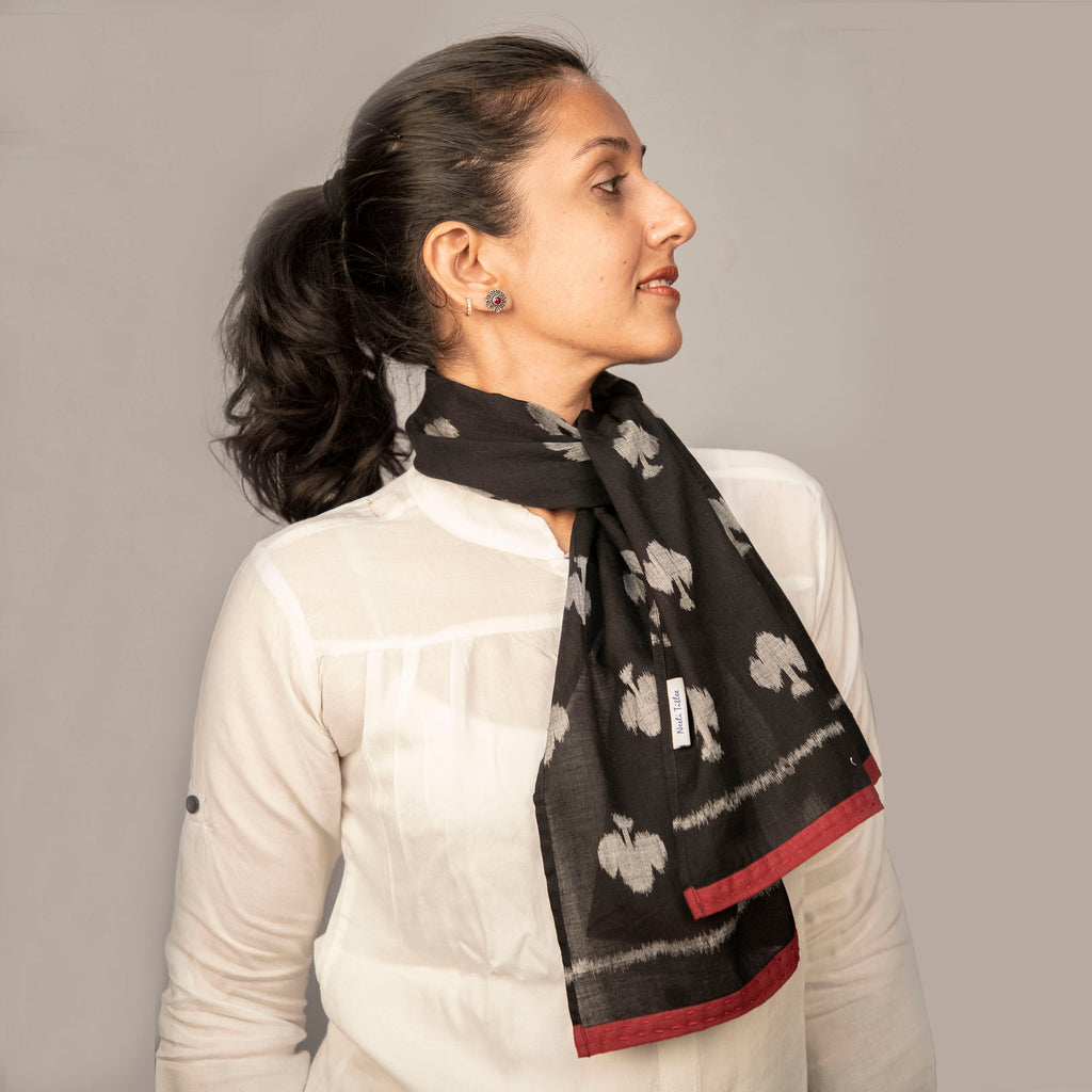 COTTON IKAT HAIRSCARF/NECKSCARVES/ SUSTAINABLE GIFTS/HANDLOOM