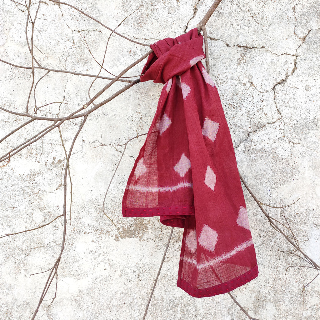 MAROON COTTON IKAT HAIRSCARF/NECKSCARVES/ SUSTAINABLE GIFTS/HANDLOOM