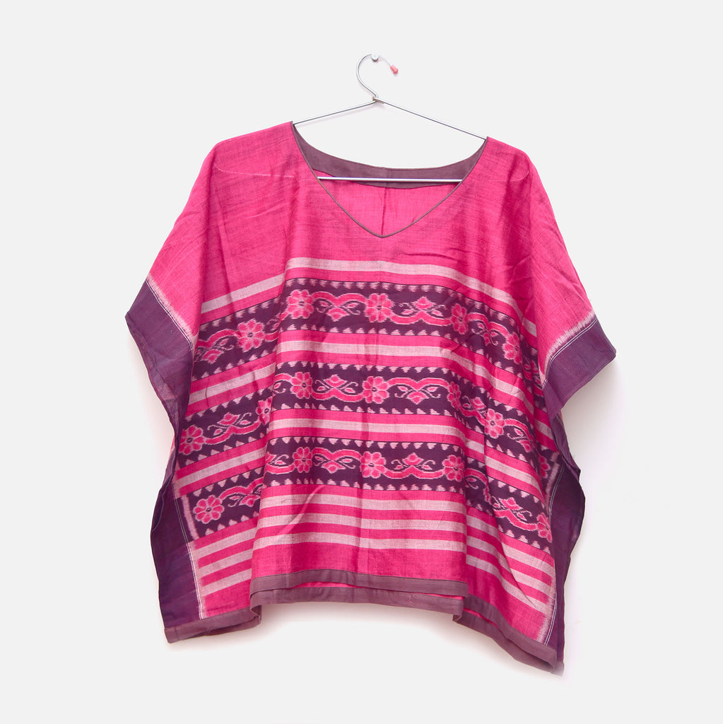 PINK HANDWOVEN COTTON  IKAT PONCHO