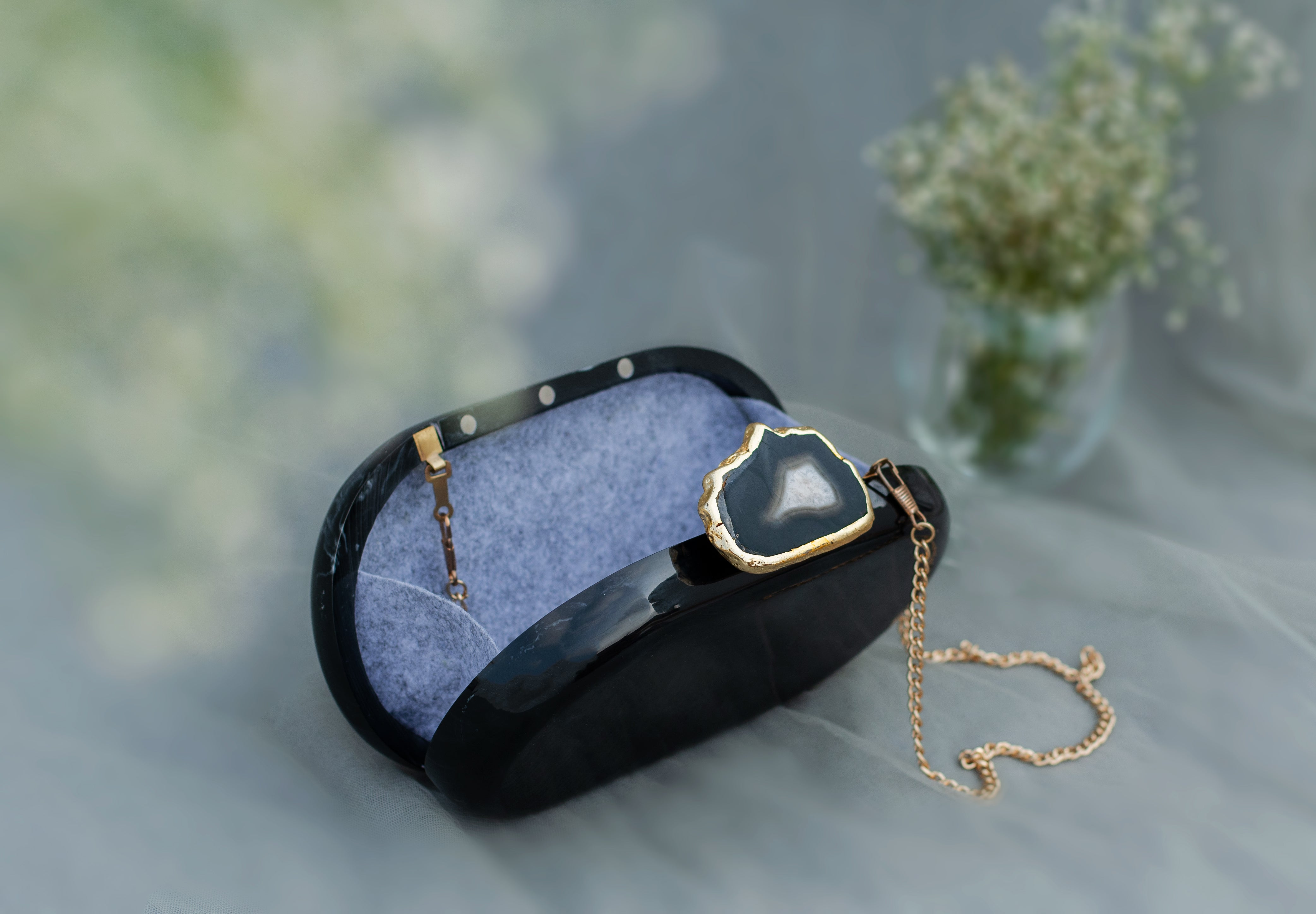 The Black Baroque Capsule Clutch - Black Stone - SOUL EARTH